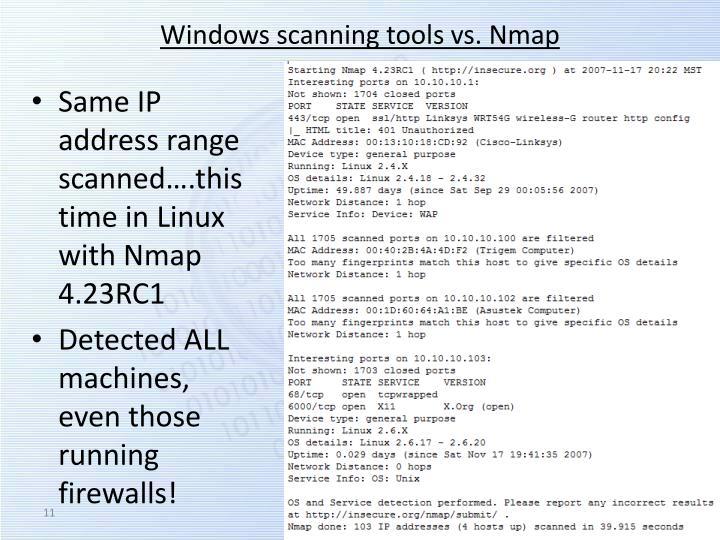Windows scanning tools vs.