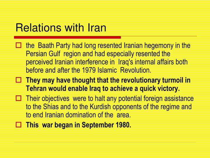 Relations with Iran