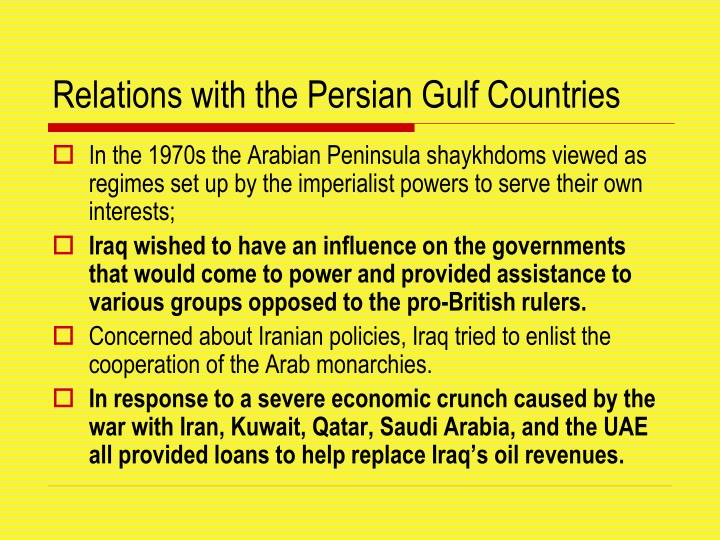 Relations with the Persian Gulf Countries
