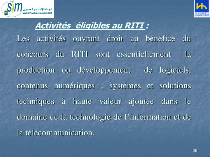 Activités  éligibles au RITI