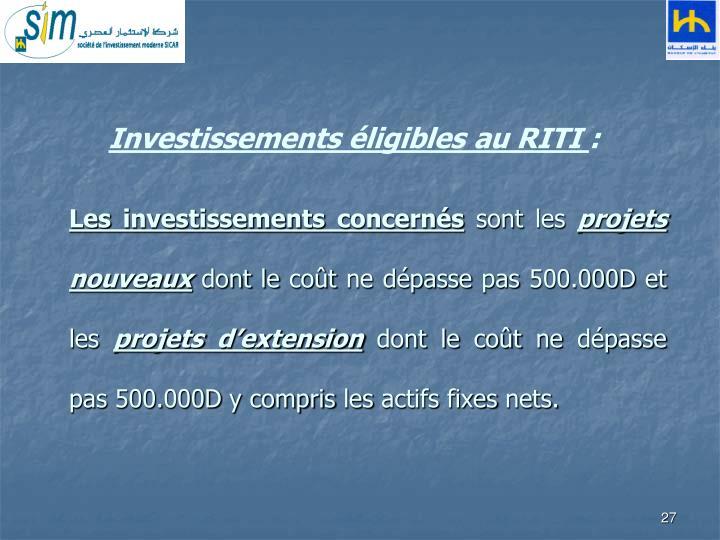 Investissements éligibles au RITI