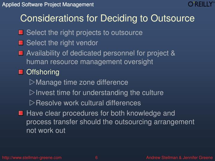 Considerations for Deciding to Outsource