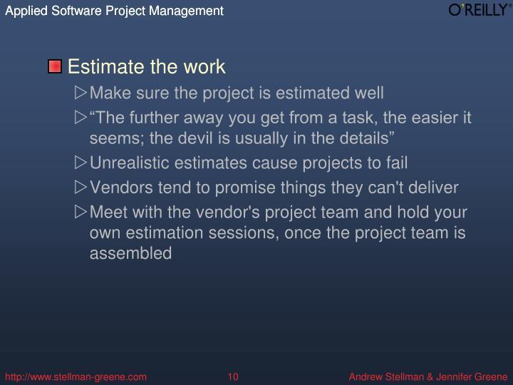 Estimate the work