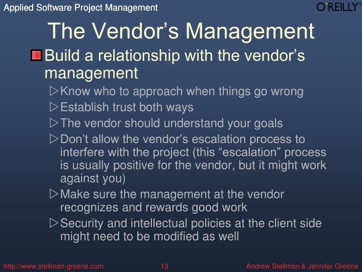 The Vendor's Management