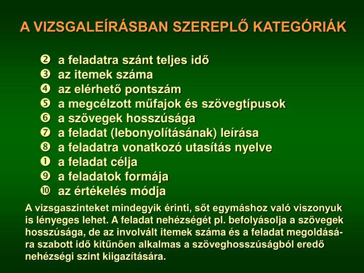 A VIZSGALEÍRÁSBAN SZEREPLŐ KATEGÓRIÁK