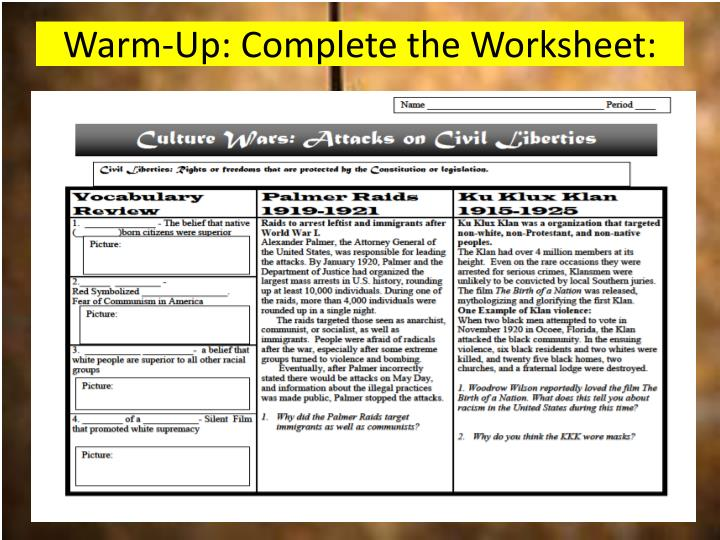 Warm up complete the worksheet
