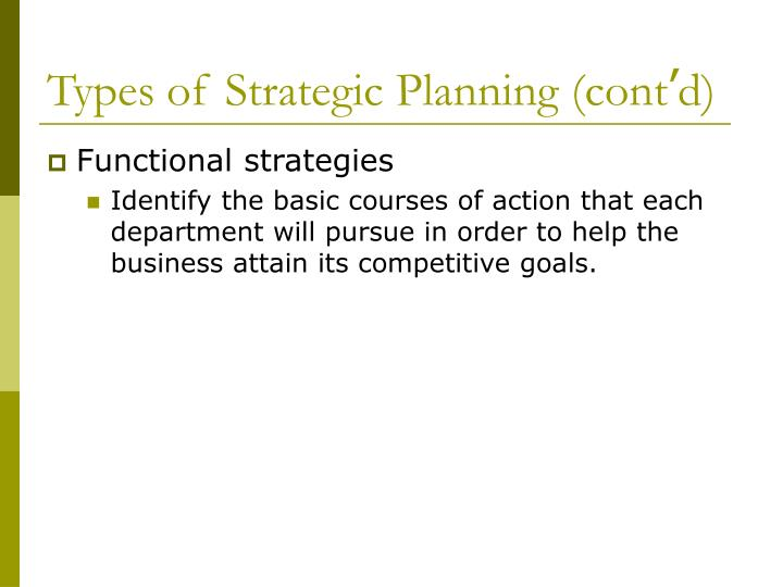 Types of Strategic Planning (cont