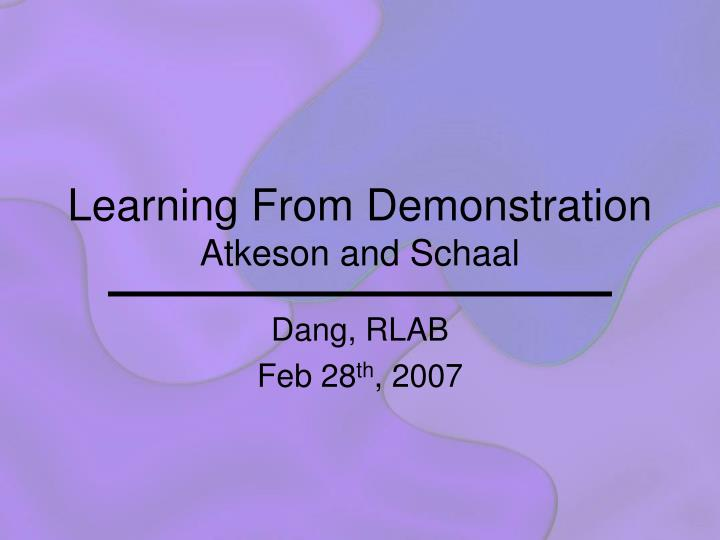 learning from demonstration atkeson and schaal n.