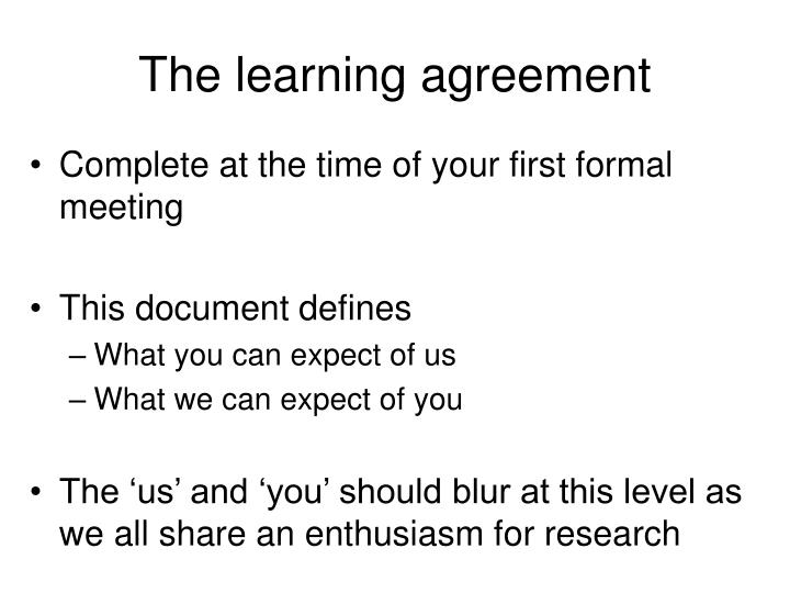 The learning agreement