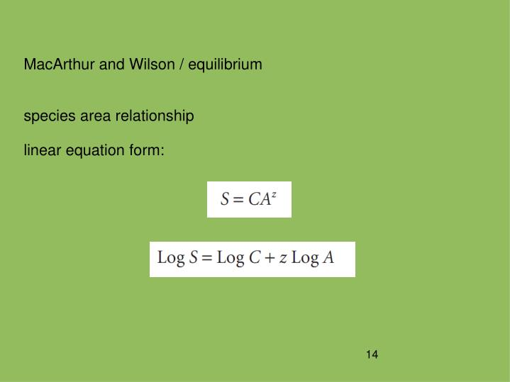 MacArthur and Wilson / equilibrium