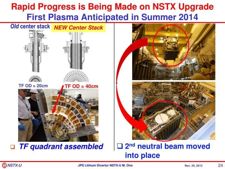 Rapid Progress is Being Made on NSTX Upgrade