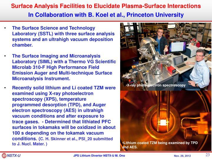 Surface Analysis Facilities to Elucidate Plasma-Surface Interactions