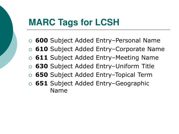 MARC Tags for LCSH