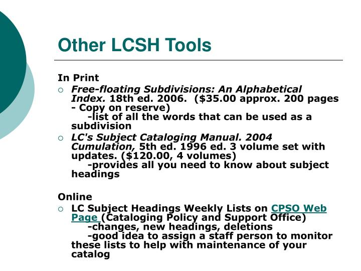 Other LCSH Tools