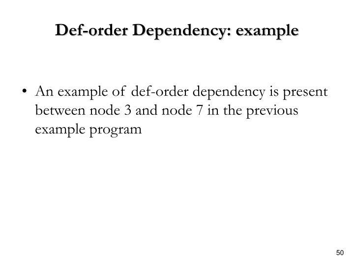Def-order Dependency: example