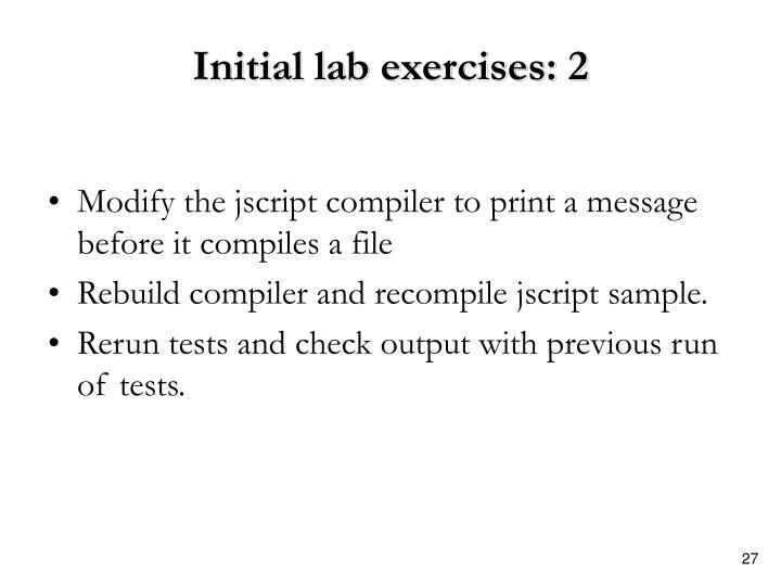 Initial lab exercises: 2