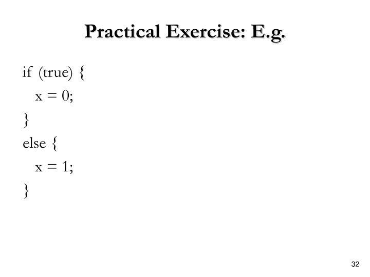 Practical Exercise: E.g.