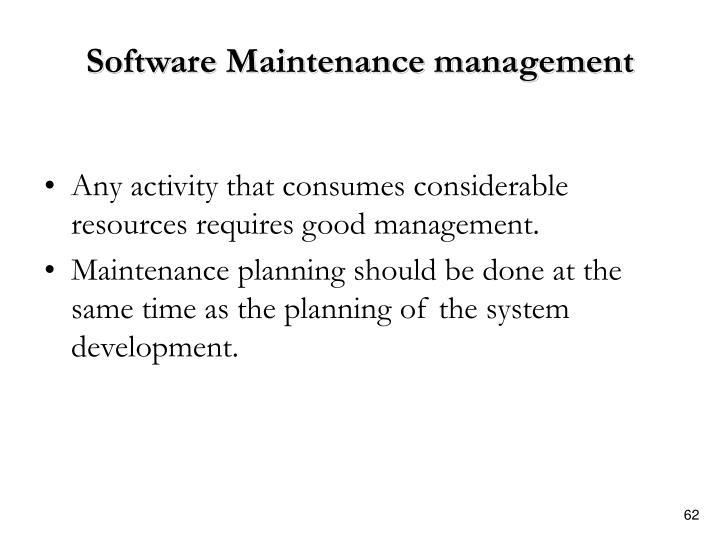Software Maintenance management