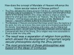 how does the concept of mandate of heaven influence the future secular nature of chinese politics