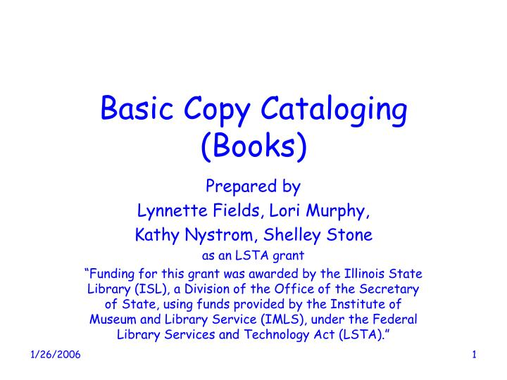 basic copy cataloging books n.
