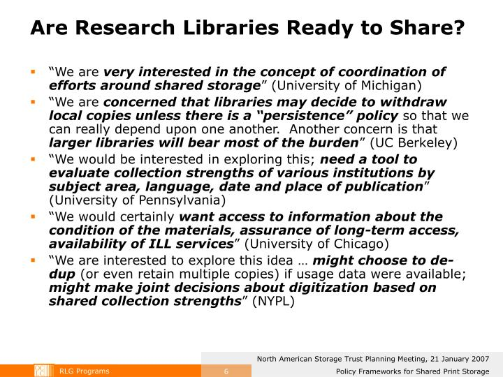Are Research Libraries Ready to Share?