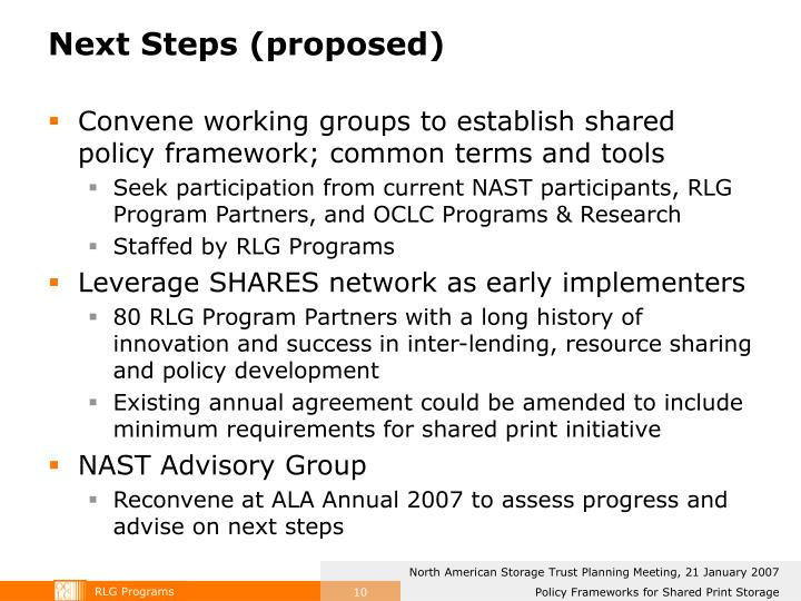 Next Steps (proposed)