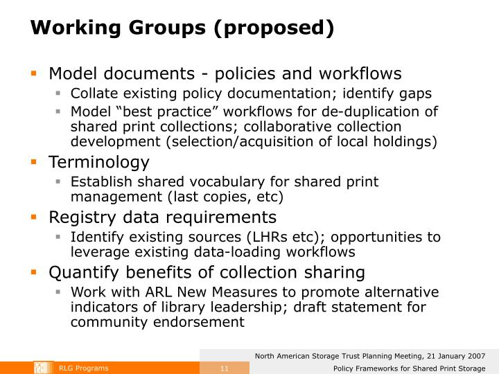 Working Groups (proposed)
