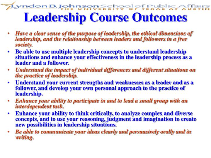 Leadership Course Outcomes