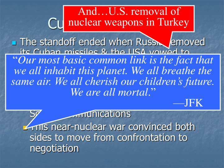 And…U.S. removal of nuclear weapons in Turkey