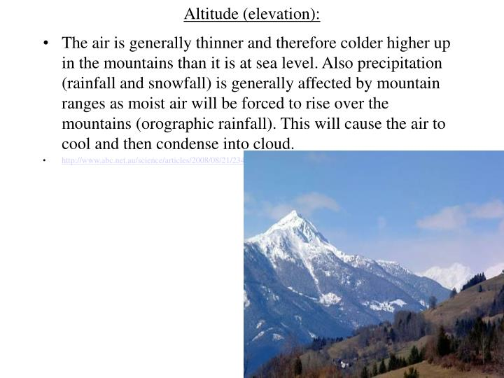 Altitude (elevation):