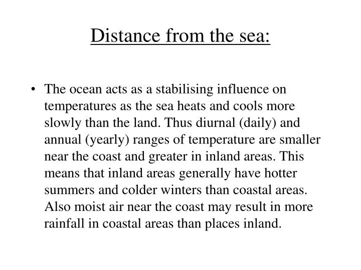 Distance from the sea: