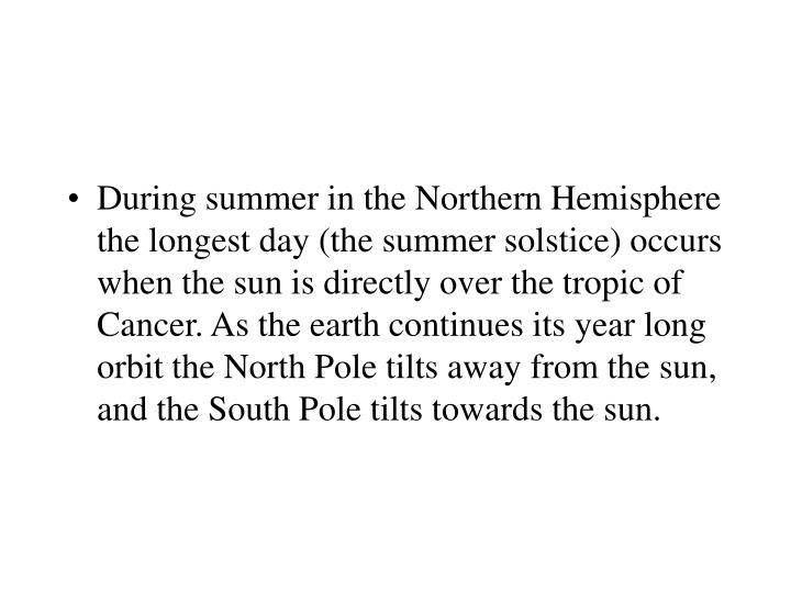 During summer in the Northern Hemisphere the longest day (the summer solstice) occurs when the sun is directly over the tropic of Cancer. As the earth continues its year long orbit the North Pole tilts away from the sun, and the South Pole tilts towards the sun.