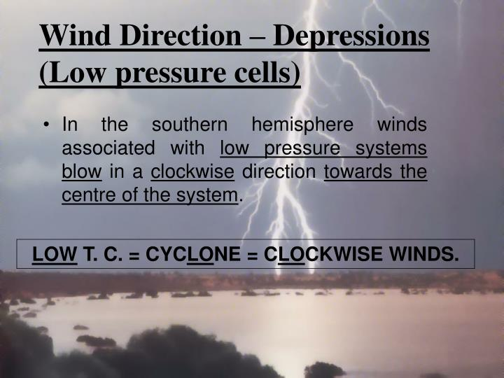 Wind Direction – Depressions (Low pressure cells)