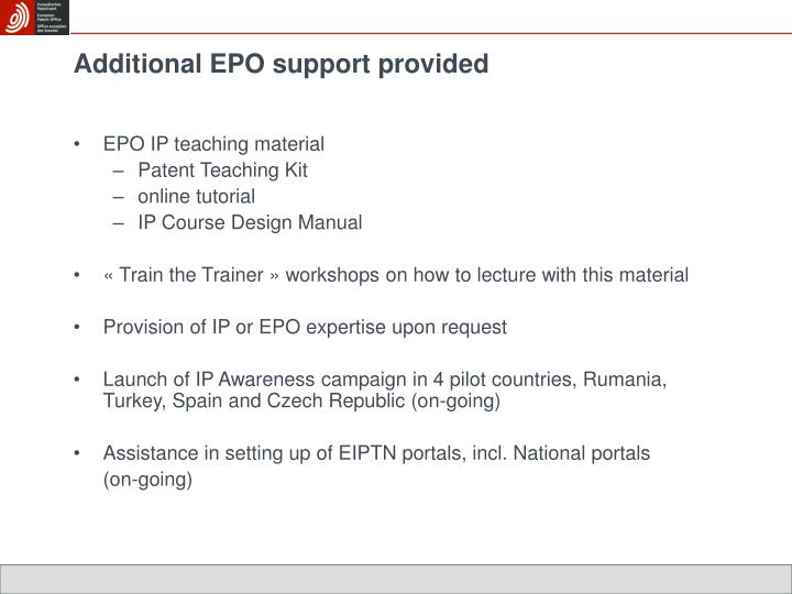 Additional EPO support provided