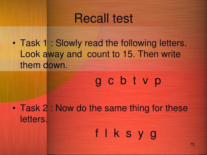 Recall test