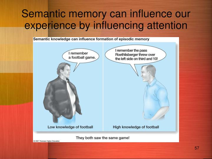 Semantic memory can influence our experience by influencing attention