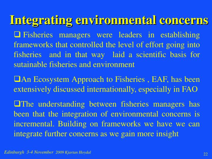 Integrating environmental concerns