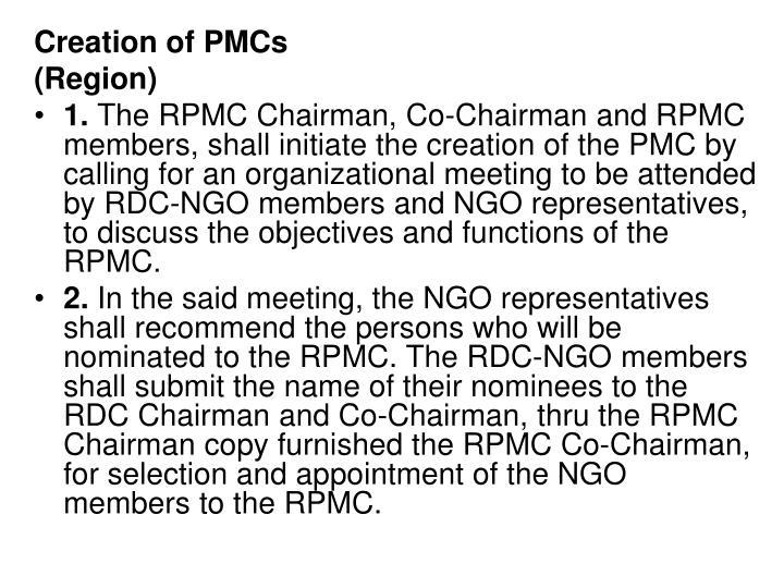 Creation of PMCs