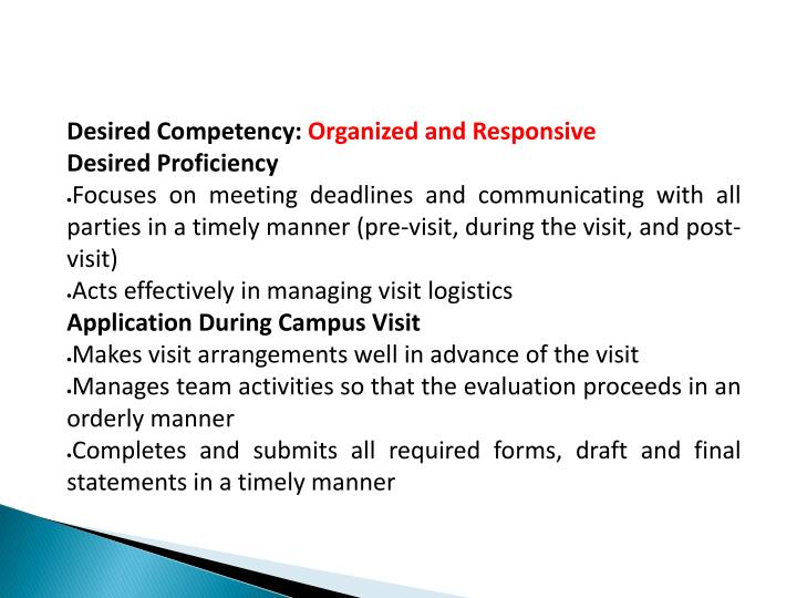 Desired Competency: