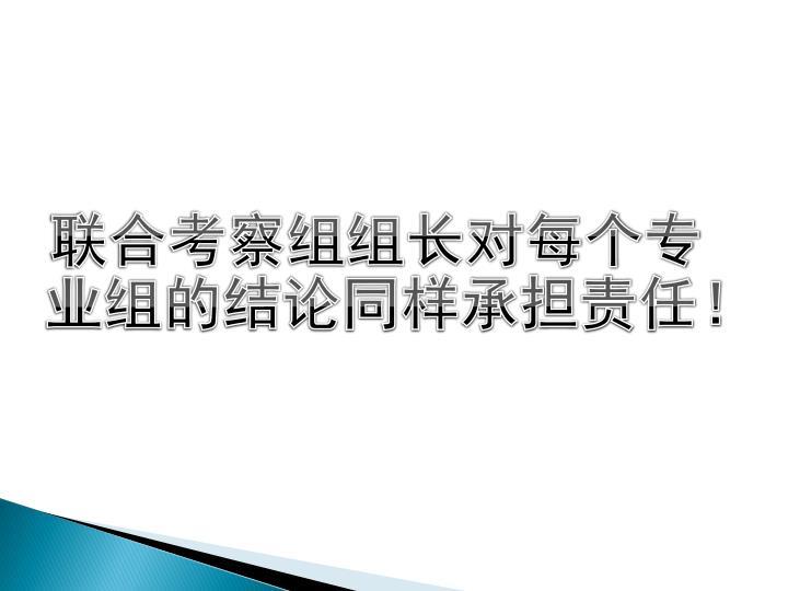 联合考察组组长对每个专业组的结论同样承担责任!