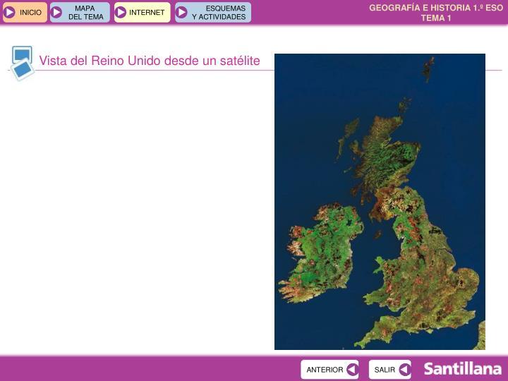 Vista del Reino Unido desde un satélite