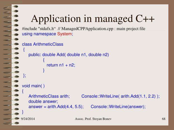 Application in managed C++
