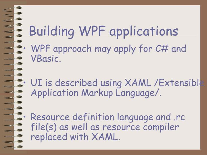 Building WPF applications