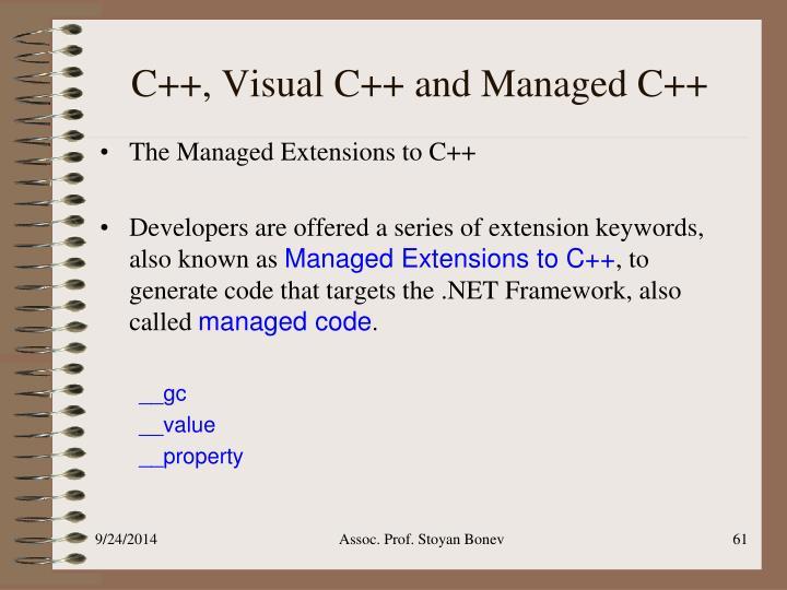 C++, Visual C++ and Managed C++