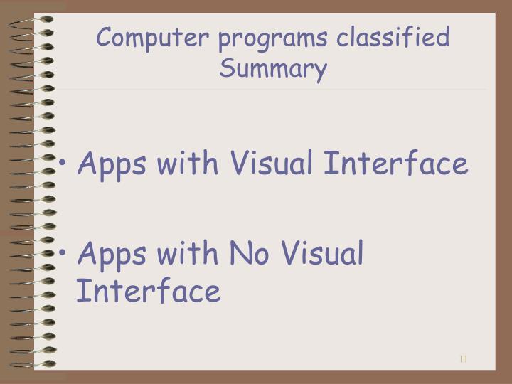 Computer programs classified