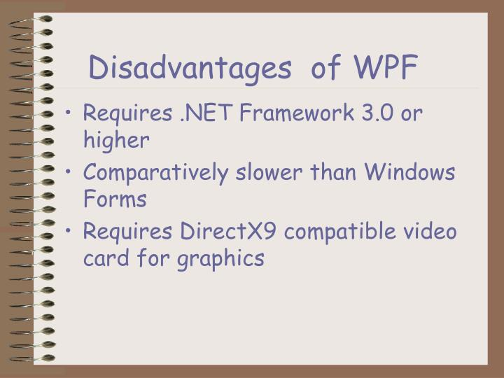 Disadvantages  of WPF
