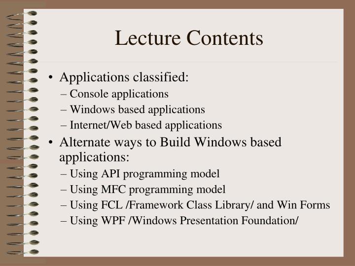 Lecture contents