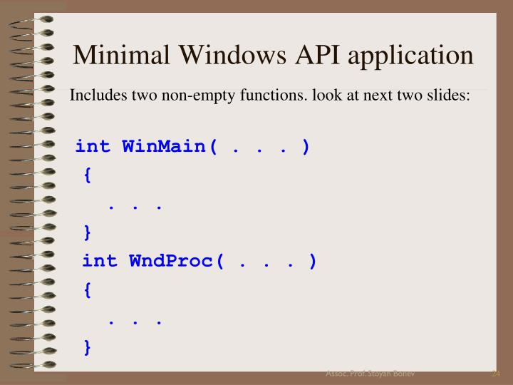 Minimal Windows API application