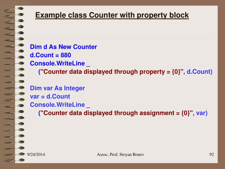 Example class Counter with property block