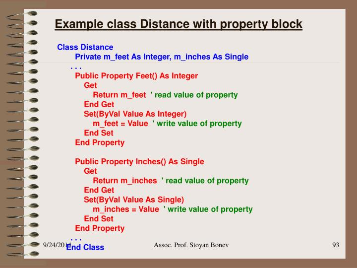 Example class Distance with property block